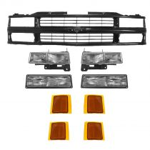 1994 - 1998 Chevy 1500 Pickup Truck Grill with Composite Headlights Gloss Black Complete Kit