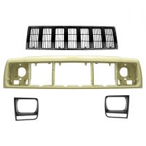 1997 - 2001 Jeep Cherokee Black Grille, Header Panel & Headlight Trim Kit