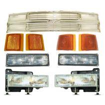 1994 - 1999 Chevy K1500 Truck All Chrome Grille, Headlights & Corner Lights Kit