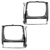 1984 - 1990 Jeep Cherokee Pair Headlight Bezel Chrome