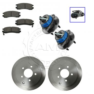 2002 - 2004 Chevy Venture AWD Rear Wheel Hub & Bearing Pair with CERAMIC Brake Pads & Rotors Set