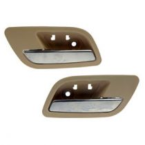 2007 - 2008 Cadillac Escalade Tan & Chrome Interior Door Handle Rear Pair