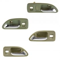 1994 - 1997 Honda Accord 4 Door Chrome & Beige Interior Door Handle (Set of 4) for Models with Power Locks Front & Rear