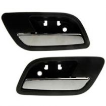 2007 - 2013 Cadillac Escalade Black & Chrome Interior Door Handle Rear Pair