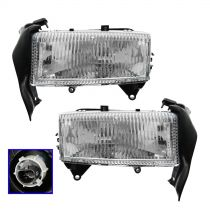 1997 - 2004 Dodge Dakota Headlight with Bracket Pair