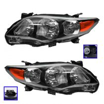 2011 - 2013 Toyota Corolla S Headlight with Black Housing Pair