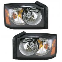 2006 Dodge Dakota Black Bezel Headlight Pair