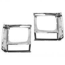 1991 - 1992 Jeep Cherokee  Headlight Bezel Pair Chrome (without Sport Package)