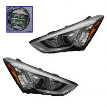 2013 - 2014 Hyundai Santa Fe Sport Halogen Headlight for L4 2.4L Models Pair