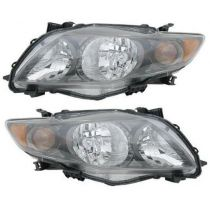 2009 - 2010 Toyota Corolla Headlight with Black Housing Pair