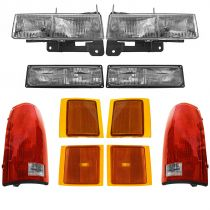 1999 - 2000 Chevy C2500 Truck Headlight, Corner Light, Parking Light and Tail Light Kit (10 Piece)