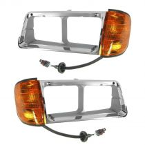 1990 - 1996 Freightliner FLD 120 Chrome Headlight Bezel with Parking Light Pair