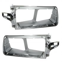 1990 - 2007 Freightliner FLD 120 Chrome Headlight Bezel Pair