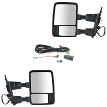 2003 - 2005 Ford Excursion Power Heated Signal & Clearance Light Textured Black Dual Arm Power - Folding Towing Mirror with Manual Spotter Glass Pair