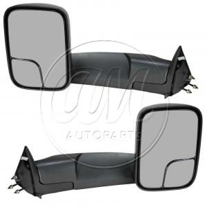 1994 - 2002 Dodge Ram 2500 Truck Manual Towing Black Mirror Pair