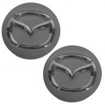 2009 - 2014 Mazda Miata MX-5 Front or Rear Chrome & Silver Wheel Center Cap Pair Mazda BBM2-37-190